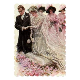 Recienes casados del vintage, casando la ducha invitaciones personalizada