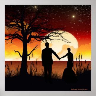 Recienes casados en la impresión del claro de luna impresiones