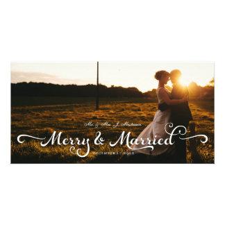 Recienes casados que casan caligrafía de la tarjeta fotografica personalizada