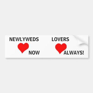 Recienes casados y amantes - pegatina para el para etiqueta de parachoque