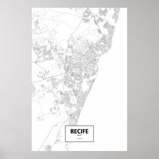 Recife, el Brasil (negro en blanco) Póster