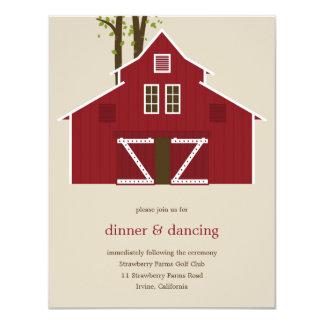 Recinto rústico de la tarjeta de la recepción del invitación 10,8 x 13,9 cm