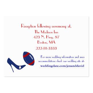 Recintos rojos, blancos, y azules del boda del fút tarjeta de visita