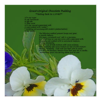 Recipe and Pansies Poster