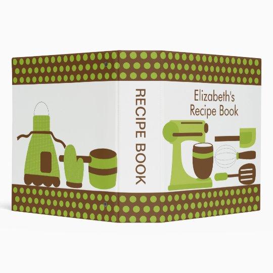 Recipe Binder Kitchen Accesories Green & Brown