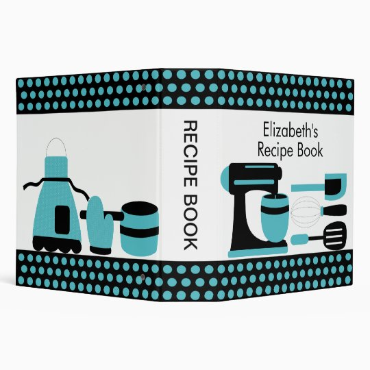 Recipe Binder Kitchen Accesories Turquoise & Black