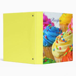 Recipe binder organizer with cupcakes design