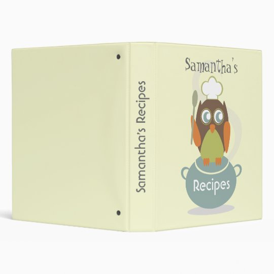 Recipe Binder - Owl With Chef's Hat, Spoon & Pot