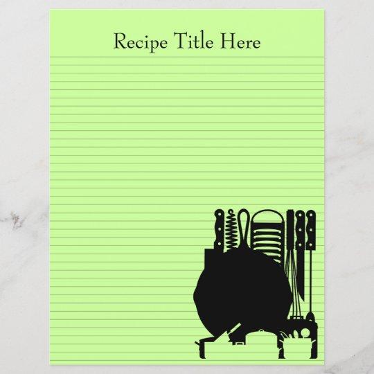 Recipe Binder Sheets 8.5x11 Customizable Both Side