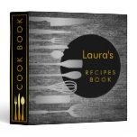 Recipe Book Family Cook Black Gray Wood Binder
