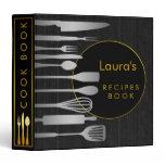 Recipe Book Family Cook Black Wooden Gold Binder