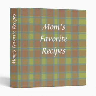 Recipe Book in Green, Burgundy & Blue Plaid 3 Ring Binder