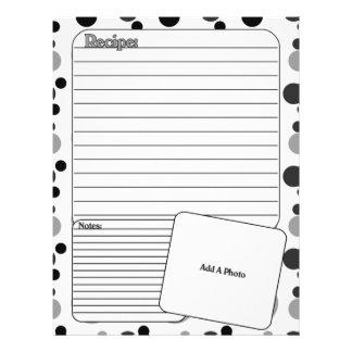 Recipe Book Page (Black And White) Letterhead