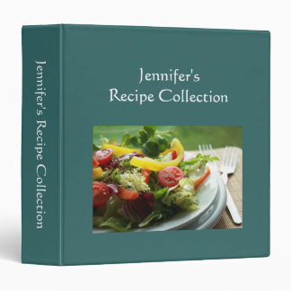 Recipe book plain green custom name photo binder