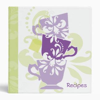 Recipe Book - Tea Cups Vinyl Binder