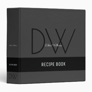 recipe book with custom monogram, black binder