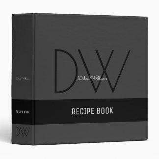 recipe book with custom monogram, black binder