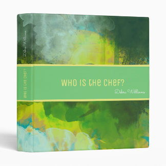 recipe book with custom name, abstract watercolor binder