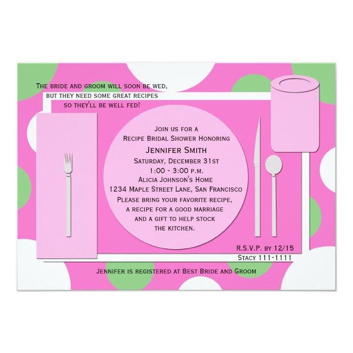 Recipe Bridal Shower Invitation -- Pretty in Pink