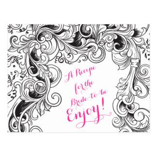Recipe Card Bridal Shower | Black White Floral Postcard
