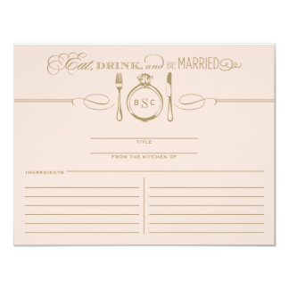 Recipe Card   Eat, Drink & Be Married Theme