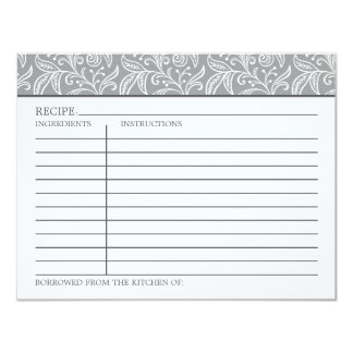 Recipe Card | Gray and White Colors