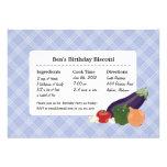 Recipe Card Plaid Blue Party Invitation