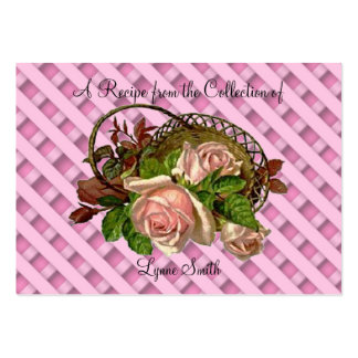 Recipe card (small) Pink Roses design Large Business Card