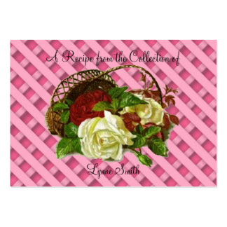 Recipe card (small)Red & White Roses design Large Business Card