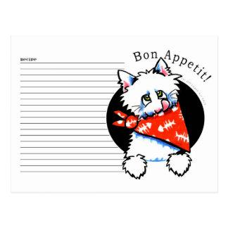 Recipe Card White Cat Bon Appetit White