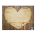 Recipe Cards Rustic Wood Fence Boards Heart Bridal Postcard