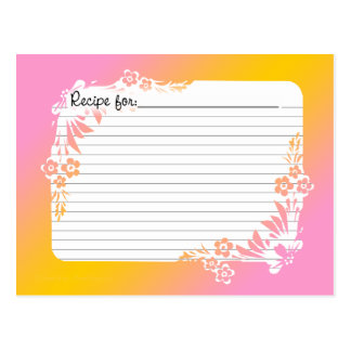 Recipe Cards with Equivalents on Floral Pastel Postcard