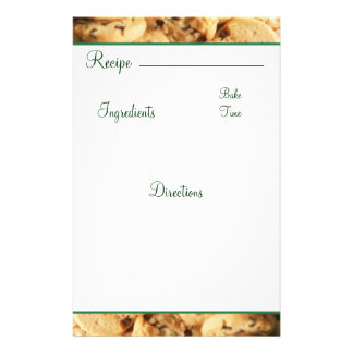 Recipe Chocolate Chip Cookie Card Stationary Stationery