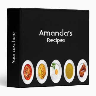 Recipe cookbook binder food dishes on black