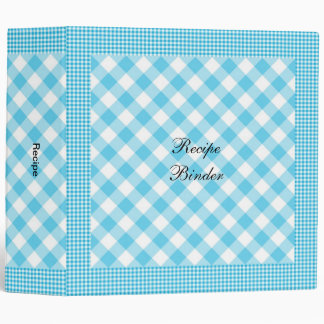 Recipe Country Style Blue White Check 3 Ring Binder