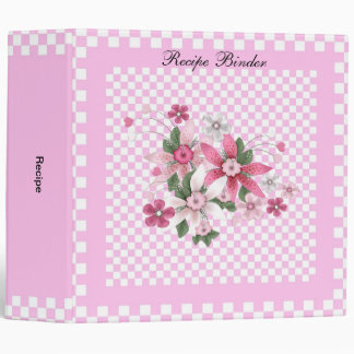 Recipe Country Style Pink White Check Floral Binder