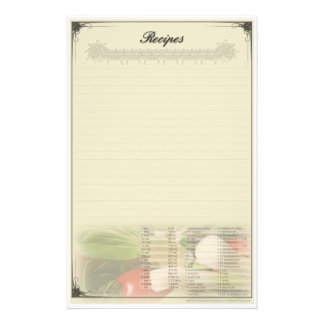 Recipe Custom Stationery