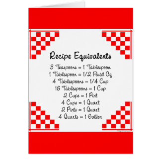 Recipe Equivalents Kitchen Helper Greeting Card