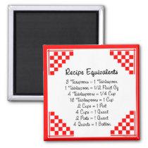 Recipe Equivalents Kitchen Helper Magnet magnets