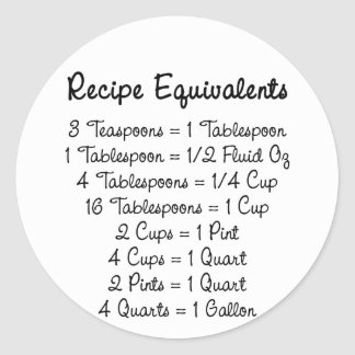 Recipe Equivalents Kitchen Helper Classic Round Sticker