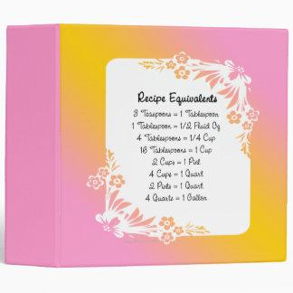 Recipe Equivalents Pastel Floral Binder