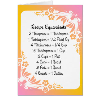 Recipe Equivalents Pastel Floral Card