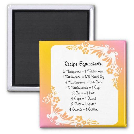 Recipe Equivalents Pastel Floral Fridge Magnet Refrigerator Magnet