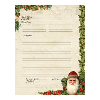 Recipe Family Santa Vintage Christmas Cookbook Flyer