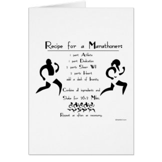 Recipe For a Marathoner Best Of Luck Card