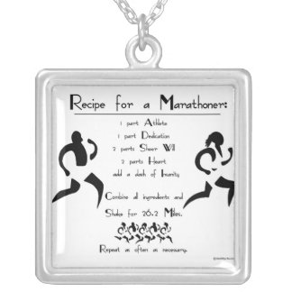 Recipe for a Marathoner Silver Plated Necklace