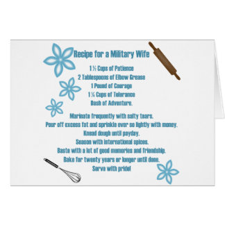 Recipe For A Military Wife Greeting Cards
