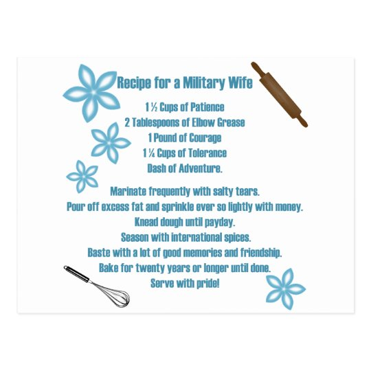 Recipe For A Military Wife Postcard