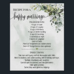 """Recipe for happy marriage shower eucalyptus gift poster<br><div class=""""desc"""">Click on """"Edit design"""" to personalize or modify the layout (change wording,  font color,  font style). ** Please see the full collection for matching invitation,  bridal shower games,  tags and sign available**</div>"""