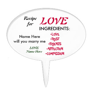 Recipe For Love Proposal Cake Topper